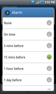Configuraciones de alarma