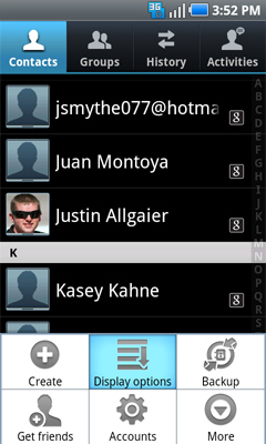 Contacts menu Display options