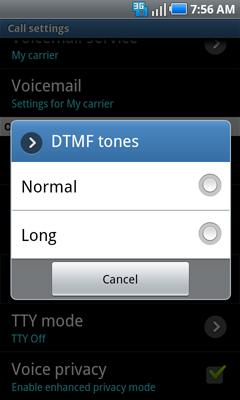 Configuración de tonos DTMF