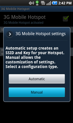 3G Mobile Hotspot settings with Manual