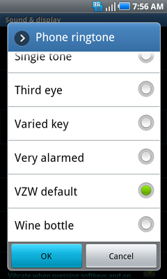 Phone ringtone settings