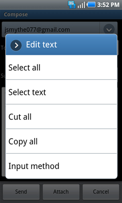 Edit text menu