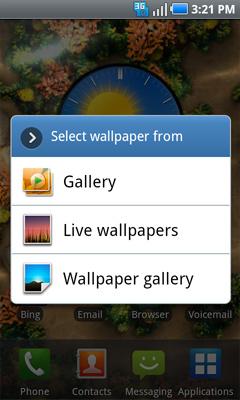 Opciones de fondo de pantalla