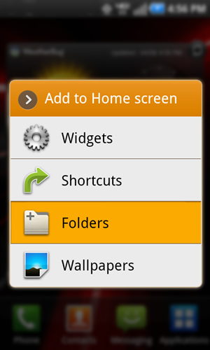 Add to home screen with Folders
