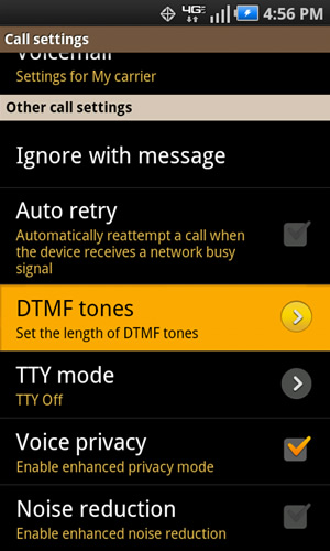 Call settings con DTMF tones