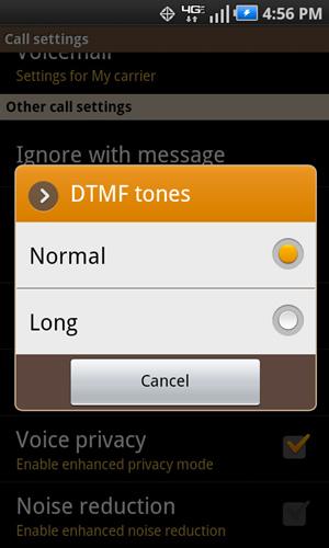 DTMF Tones con configuraciones disponibles