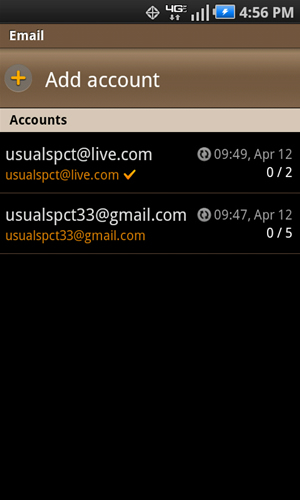 Email accounts screen