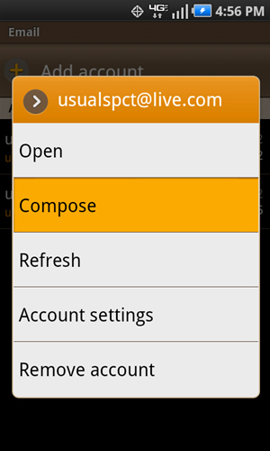 Account menu with Compose