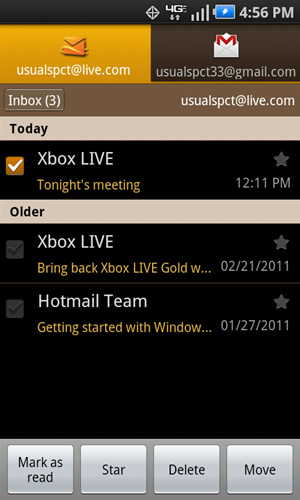 Inbox con mensajes disponibles