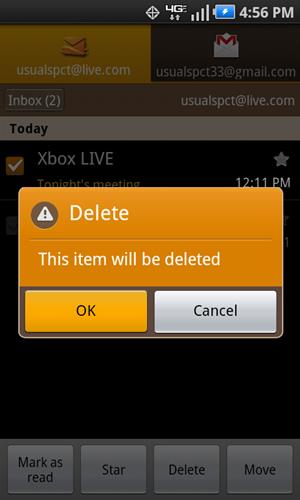 Confirmación y botón OK