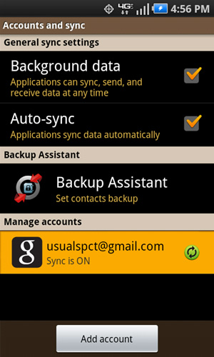 Accounts & sync settings with an account