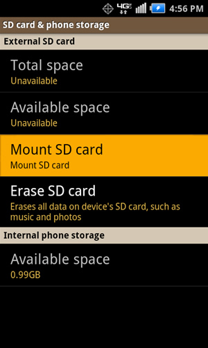 SD card & phone storage with Mount SD card