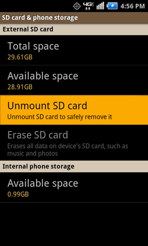 SD card & phone storage with Unmount SD card