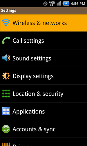 Settings with Wireless & networks