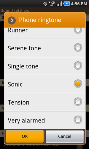 Phone ringtone with available options