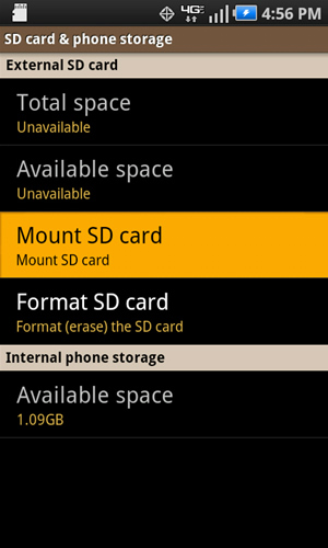 SD card & phone storage con Unmount SD card