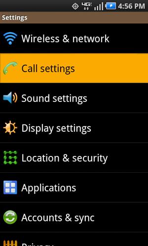Settings con opción Call settings