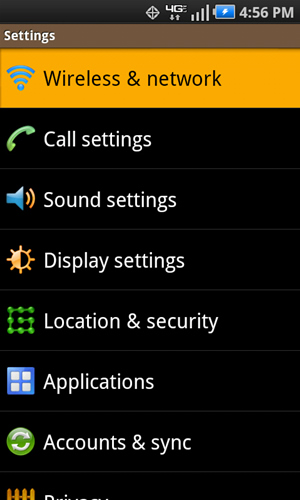 Settings with Wireless & network
