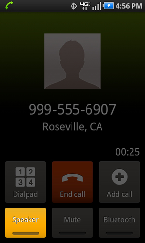 Call connected screen with Speaker