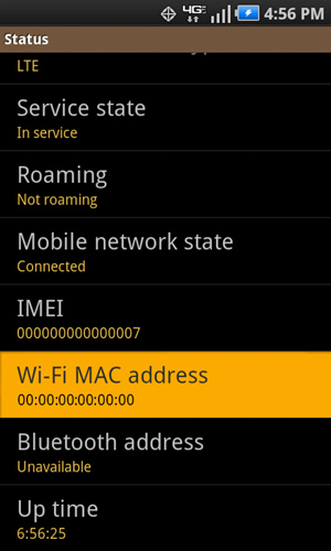 Status with WiFi Mac Address
