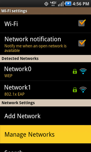 Wi-Fi settings with Manage Networks