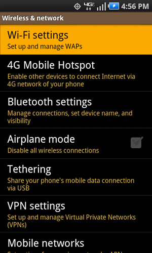 Wireless & network with Wi-Fi settings