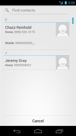 Contacts screen with available numbers