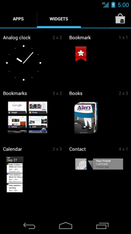 Widgets screen with available widgets