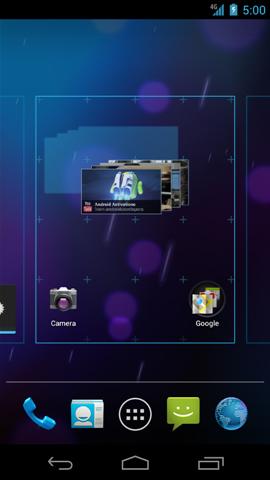 Widget con pantallas de inicio disponibles