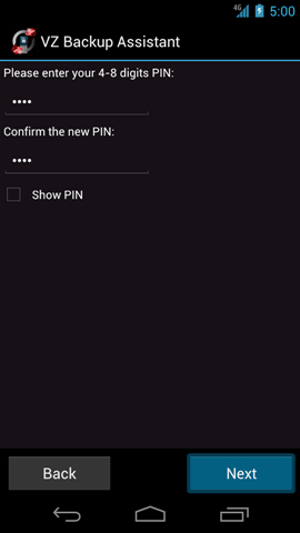 Change PIN screen with OK