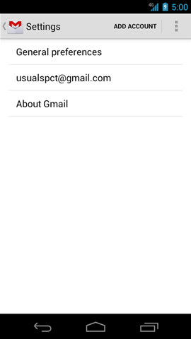 Gmail settings with accounts