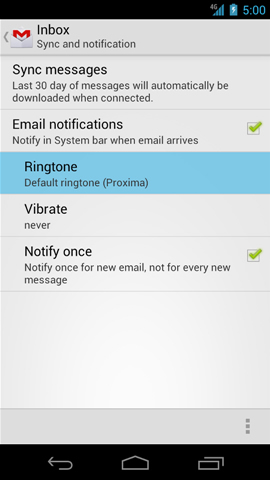 Sync and notification settings with Ringtone