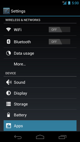 Settings with Apps