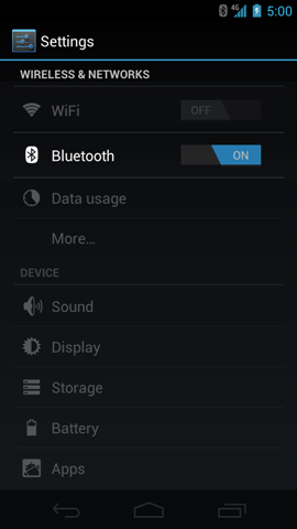 Settings with Bluetooth ON/OFF switch