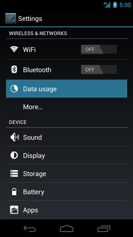 Settings with Data usage