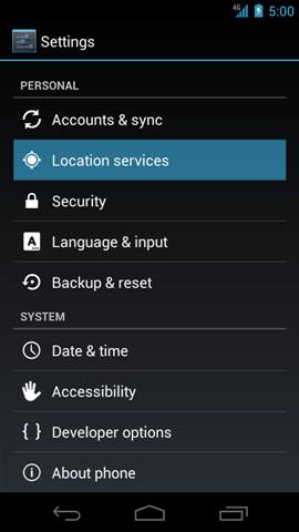 Settings with Location services