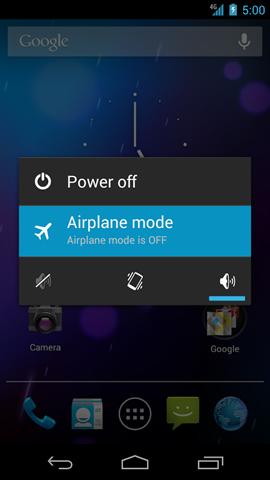 Phone options con opción Airplane mode