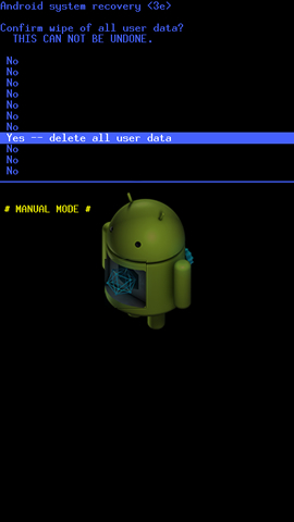 Android system recovery screen with Yes -- delete all user data