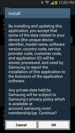 Galaxy Gear Manager Software download install screen, OK