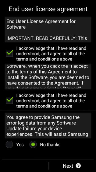 End user license agreement screen, Next