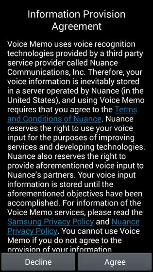 Information Provision Agreement/Voice Memo screen, Agree