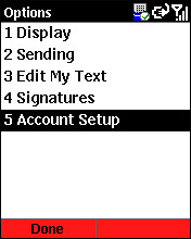 Email account set up screen