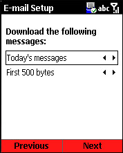 Email Setup Download Messages Options