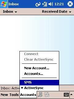 Accounts menu > SMS