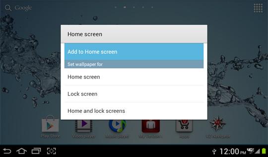 Menú de la pantalla de inicio, Agregar a la pantalla de inicio
