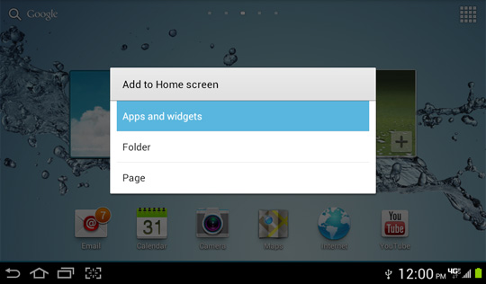 Add to home screen options menu, Apps and widgets