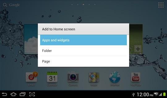 Agregar a pantalla de inicio, menú options, Aplicaciones y widgets