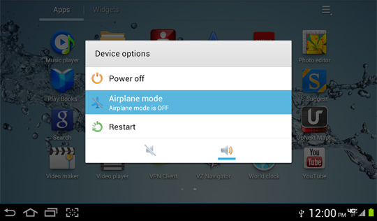 Device options screen, Airplane Mode