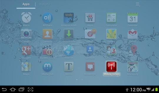 Menú de aplicaciones, Mobile Hotspot