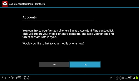 Backup Assistant Plus Contacts Linked Account explanation screen, Yes